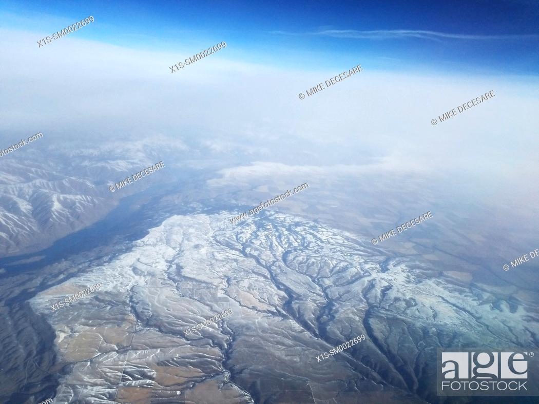Stock Photo: Cascade Mountain Range seen from above. Washington State, USA.