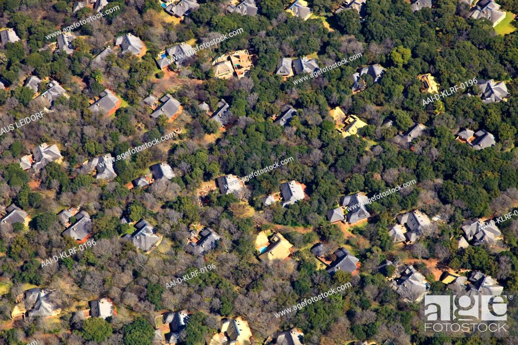 Stock Photo: Aerial of residential estate in the woods of Buffelspoort, North West Province, South Africa.
