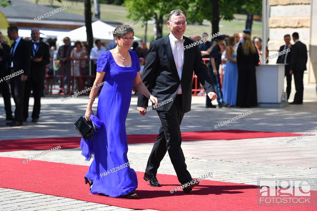Stock Photo: Dr. Florian HERRMANN (CSU) with wife Renate on arrival. Opening of the Bayreuth Richard Wagner Festival 2019. Red carpet on 25.07.2019.