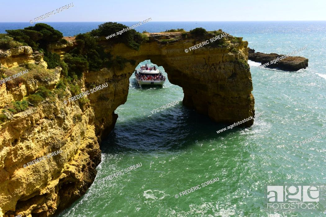 Stock Photo: Rock formations at the Atlantic Coast in Algarve, Portugal.