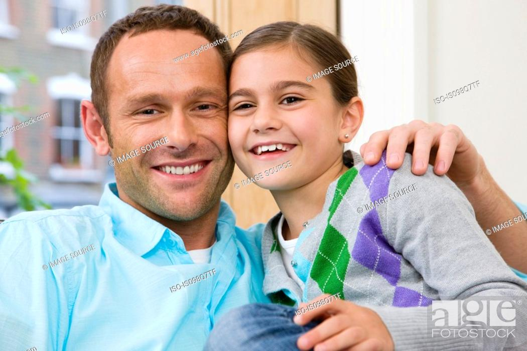 Stock Photo: Portrait of father and daughter.