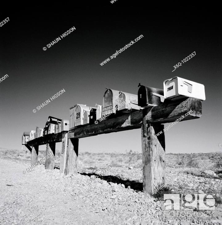 Stock Photo: Mailboxes In Nevada, USA.