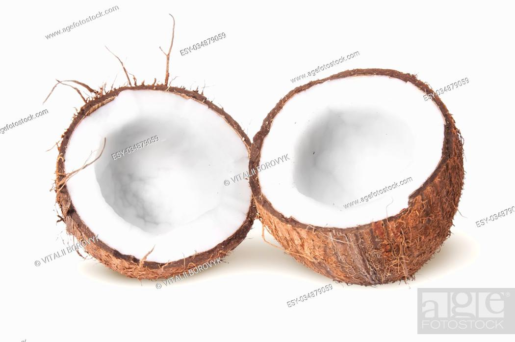 Stock Photo: Two halves of coconut lying next isolated on white background.