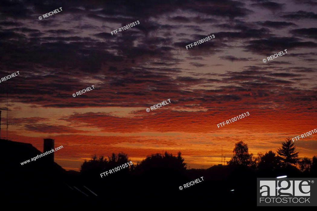 Stock Photo: Sunset,Moessingen, Germany.