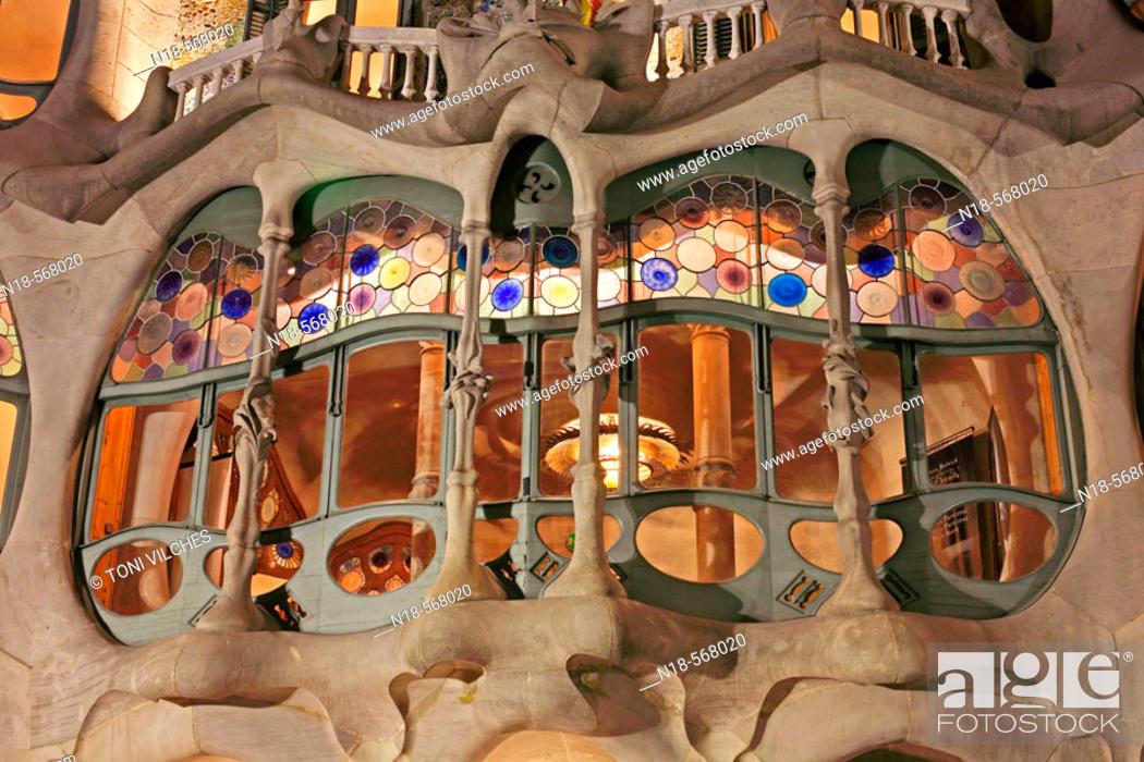 Imagen: Batlló House (1904-06 by Gaudí), Barcelona. Catalonia, Spain.