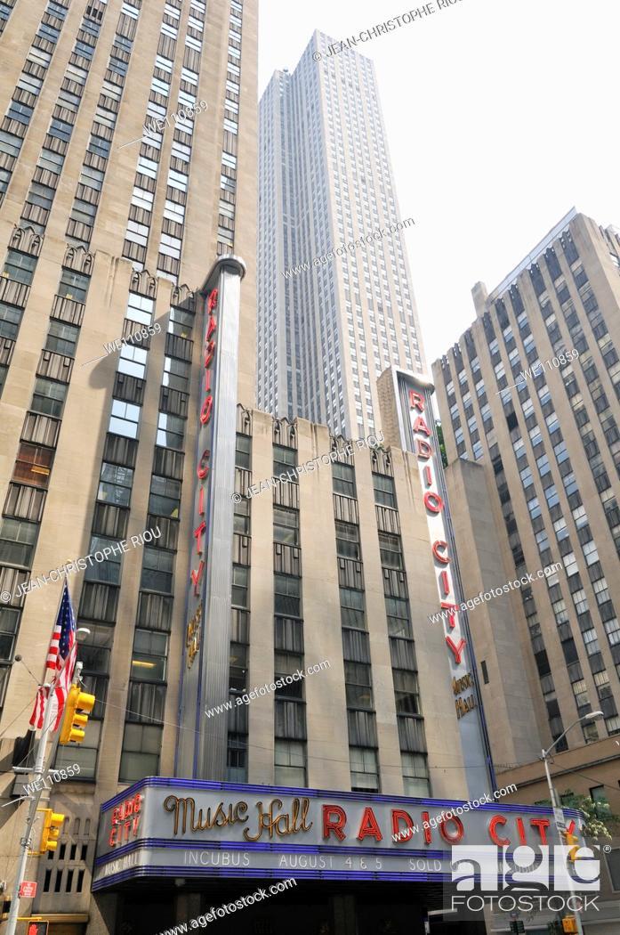 Stock Photo: Radio City Music Hall building, New York City, USA.