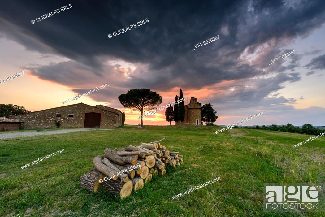 Stock Photo: Church Vitaleta at sunset, Orcia Valley, Siena district, Tuscany, Italy.