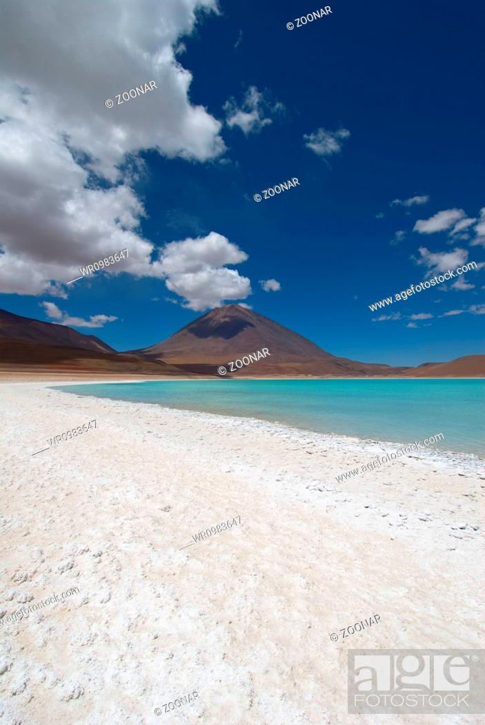 Stock Photo: mountain, reflecting in the lake, laguna verde, bolivia.