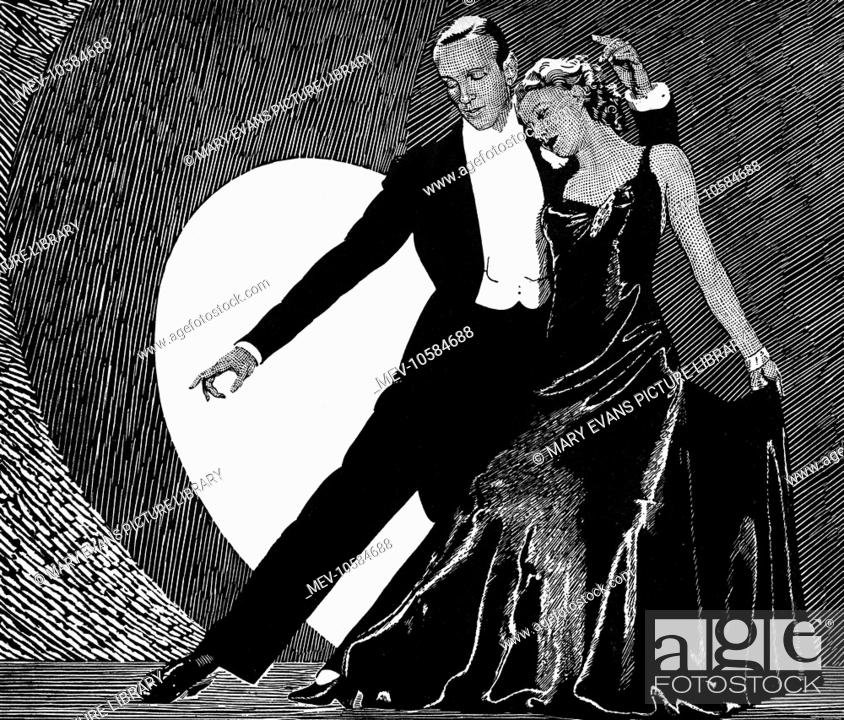 Line Art Of Fred Astaire And Ginger Rogers Dancing In Roberta Stock Photo Picture And Rights Managed Image Pic Mev 10584688 Agefotostock
