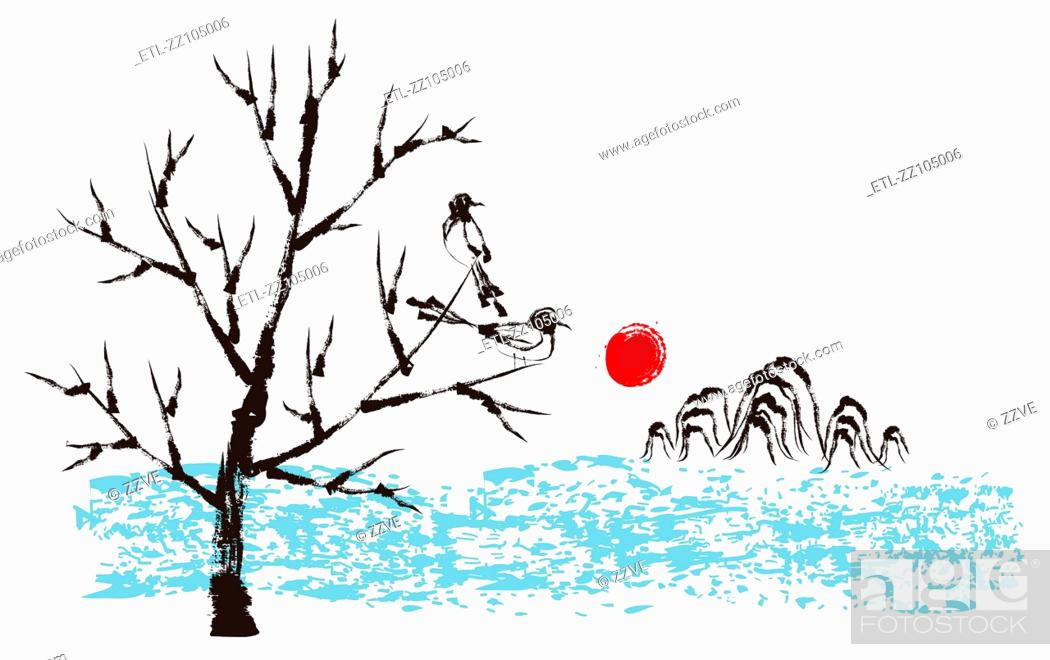 Stock Photo: Scenery sketch on white background.