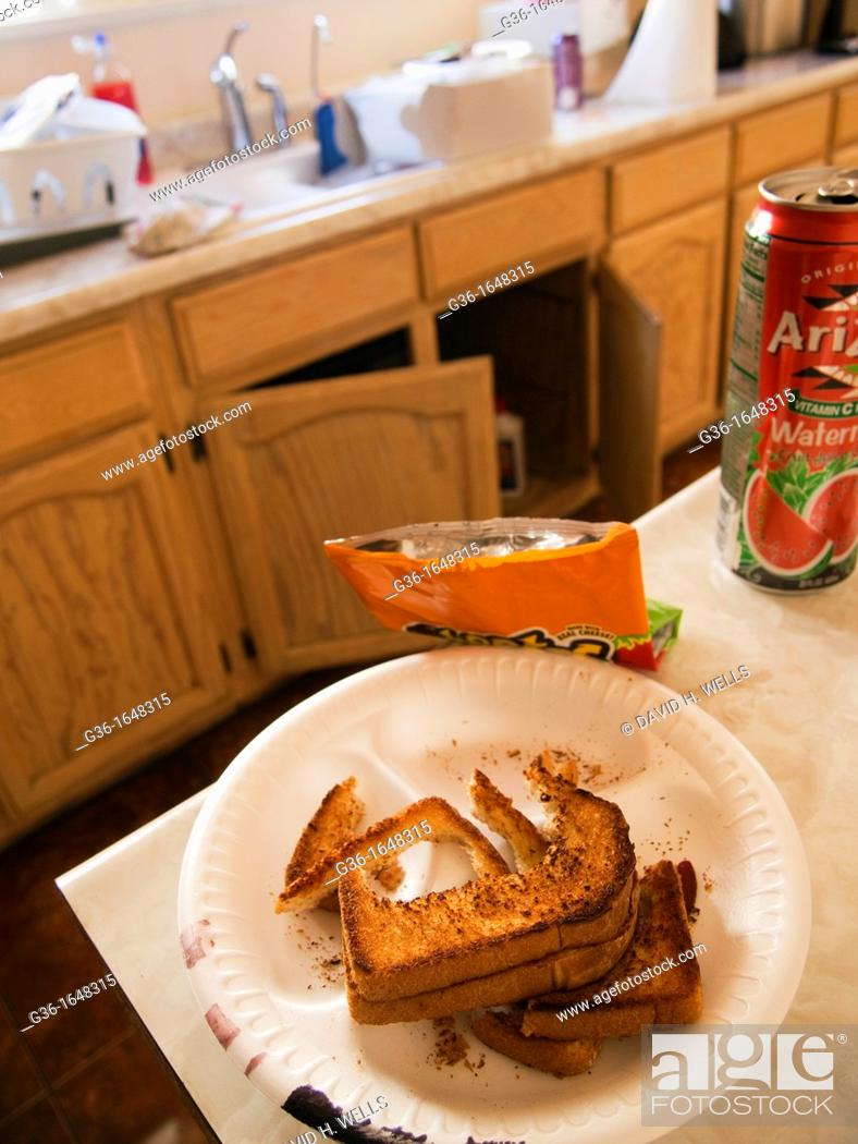 Stock Photo: Half-eaten sandwich in dirty kitchen in a foreclosed house in Huntington Park, California, United States.