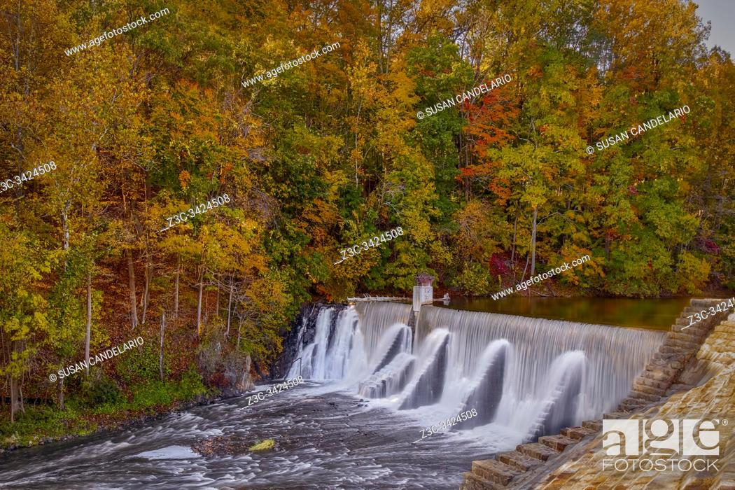 Stock Photo: Lake Solitude Dam and Waterfall -.