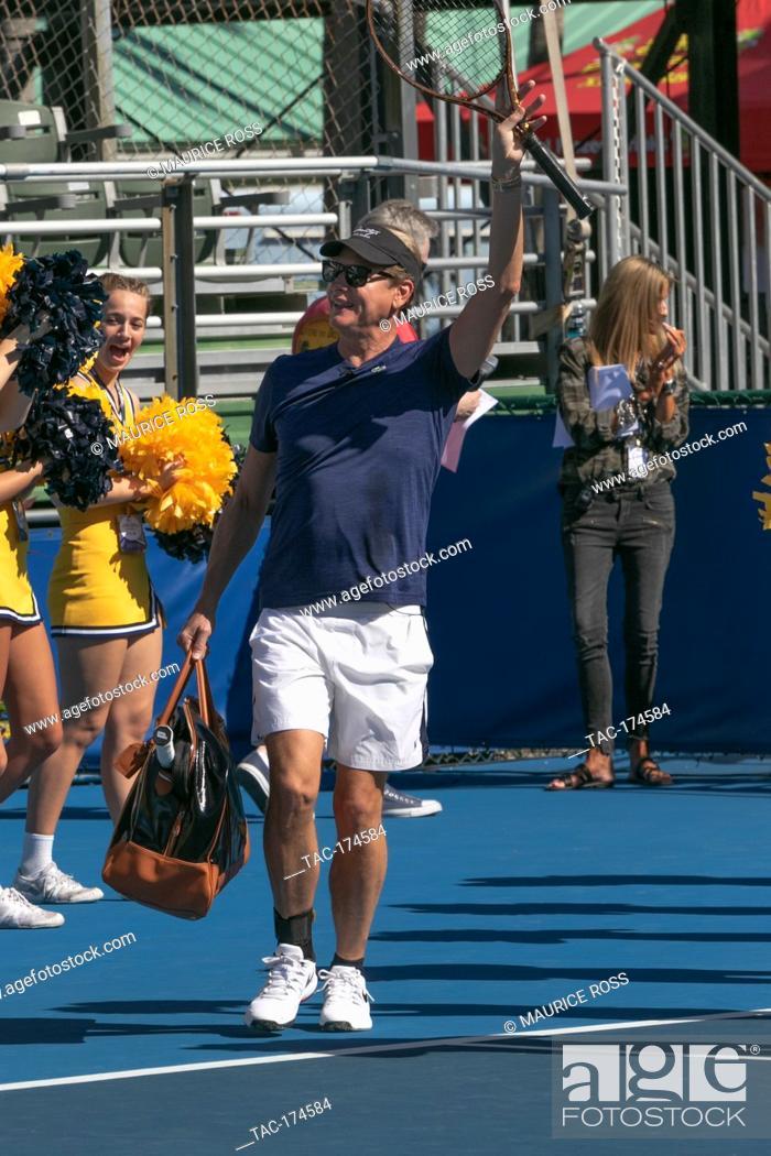 Stock Photo: Carson Kressley playing in the Chris Evert Pro-Celebrity Tennis Tournament November 23 2019 at the Delray Beach Tennis Center, Delray Beach Florida.