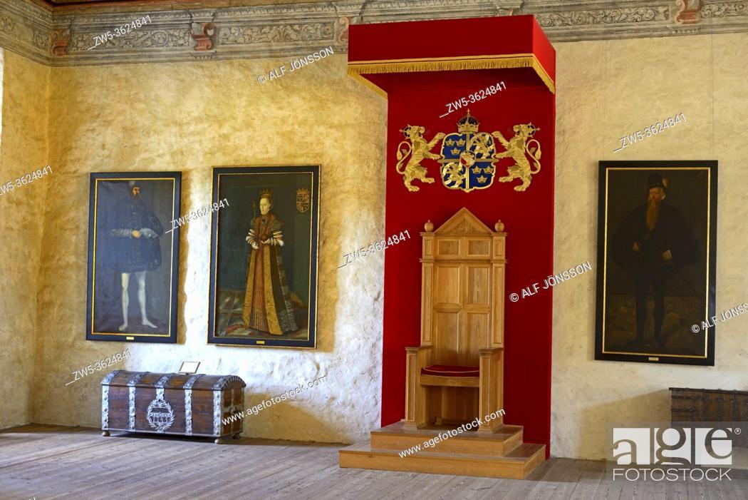 Stock Photo: Interior view in Kalmar castle, The Golden Hall, Kalmar, Småland county, Sweden, Scandinavia.