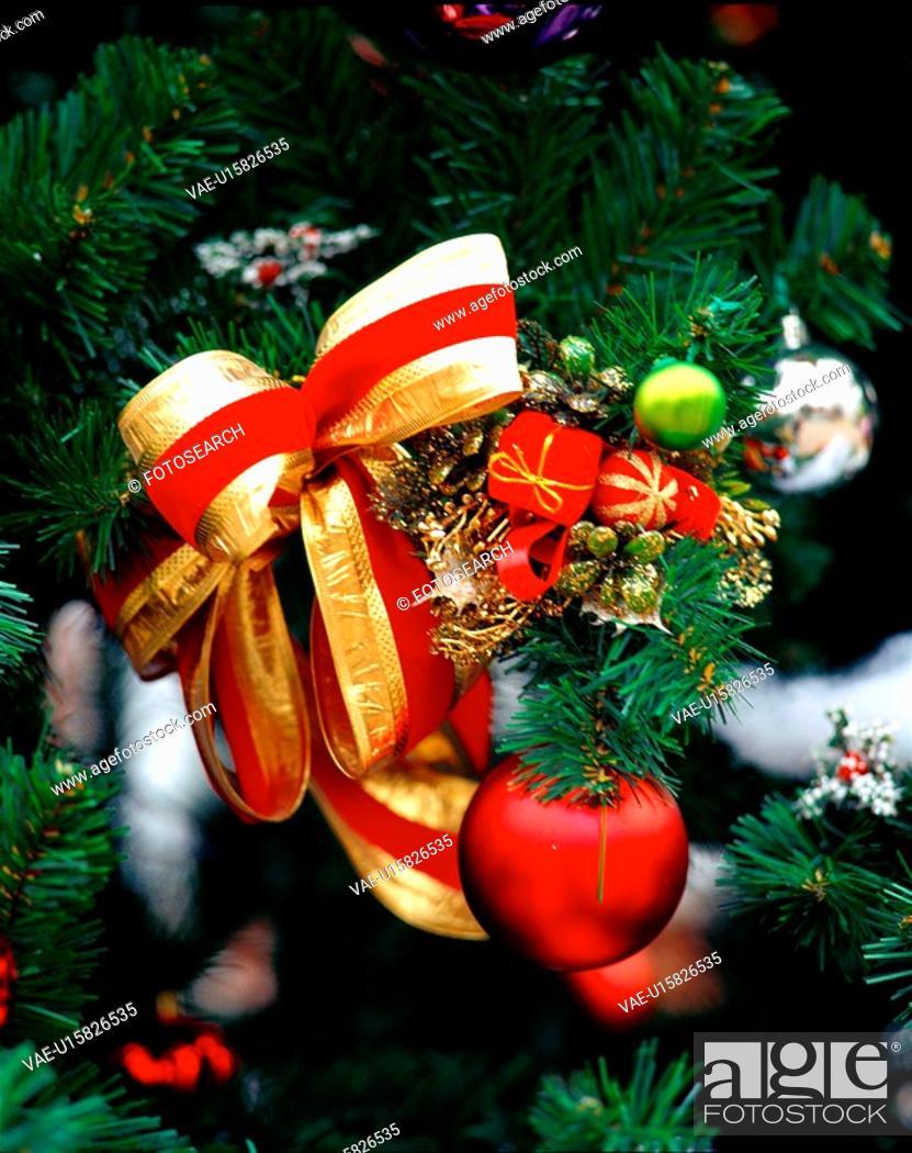 Stock Photo: seasons, christmas, decoration, ribbon, tree, film.
