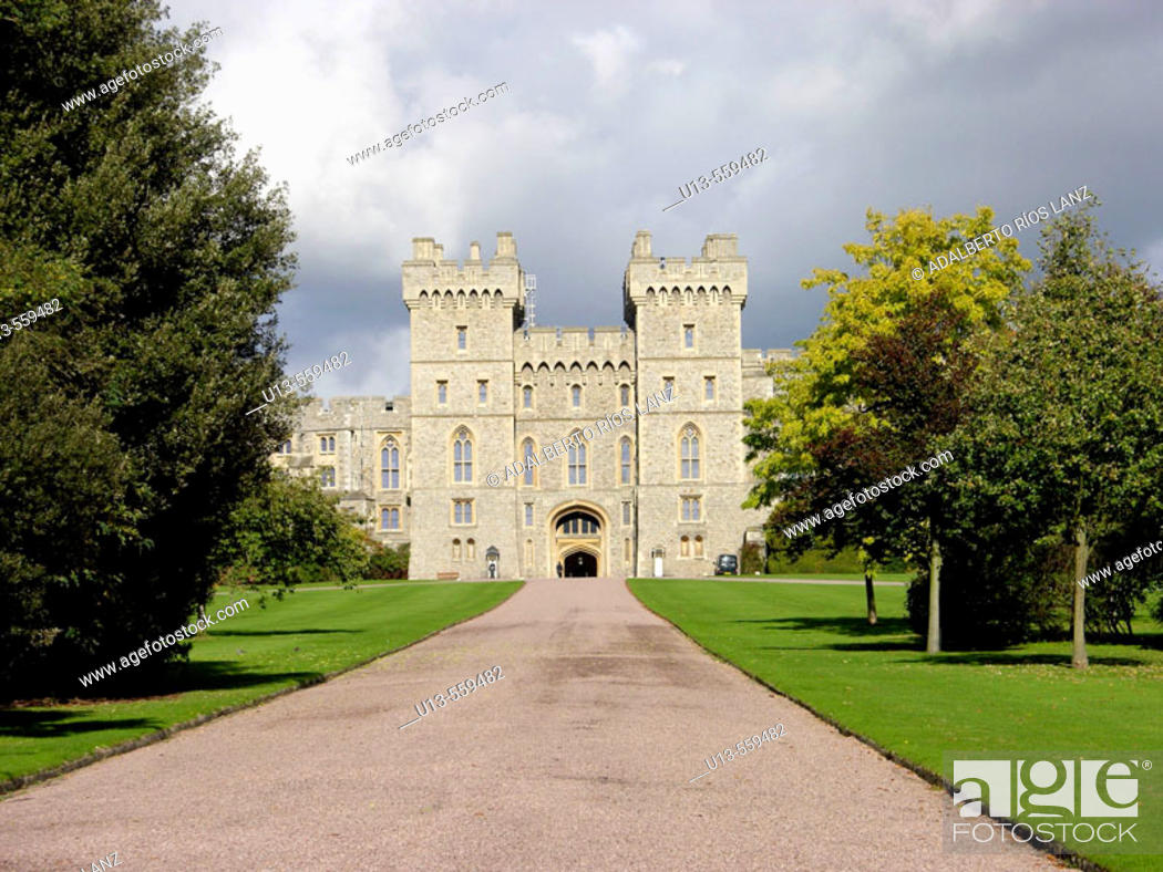 Stock Photo: South Wing Façade Windsor Castle From The Long Walk Berkshire England United Kingdom.