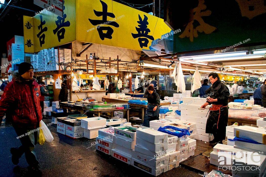 Photo de stock: Japan, Honshu island, Kanto, Tokyo, Tsukiji market.