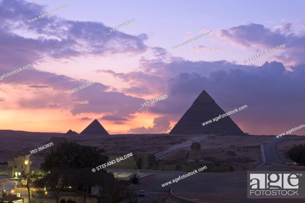 Stock Photo: The pyramids of Khafre and Menkaure at sunset, Giza, Egypt.