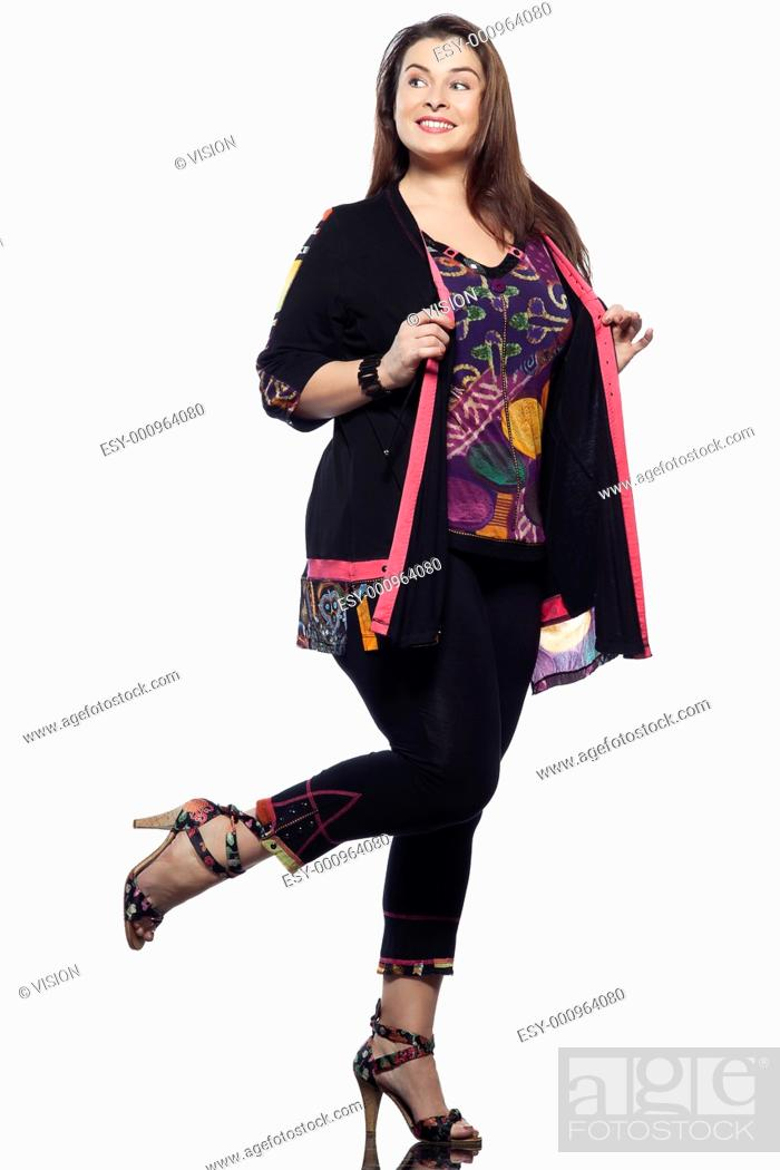 Stock Photo: large build caucasian woman full length spring summer fashion models clothes clothings on studio isolated plain background.
