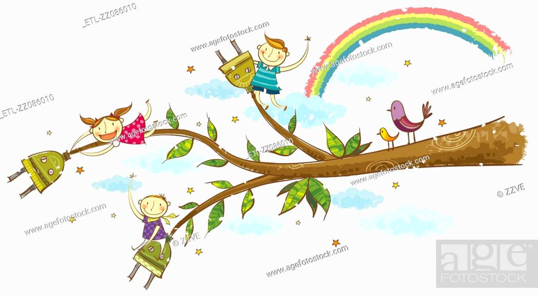 Stock Photo: children hanging on branches of tree.