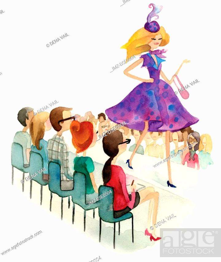 Stock Photo: A watercolor illustration of people watching a fashion show.