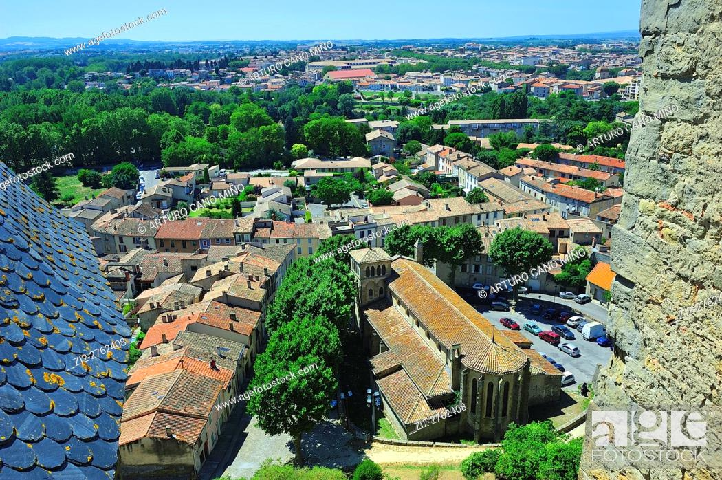 Stock Photo: View from the Castle of the Earls in the Citadel, XIIIth-XIXth centuries. Carcassonne city, Aude department, Languedoc-Roussillon region, France.