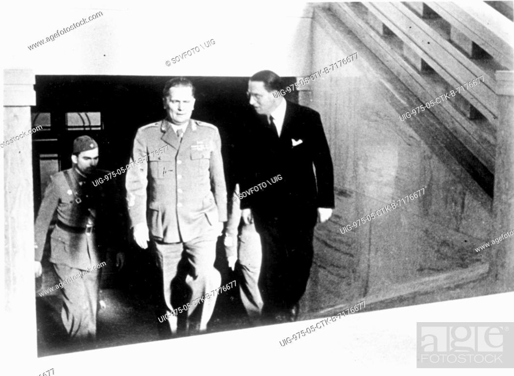 Stock Photo: Josef Korbel with Josip Broz Tito, then head of the Yugoslav Federal People's Republic. Korbel who had been a close aide to Czchoslovak Foreign Minister Jan.