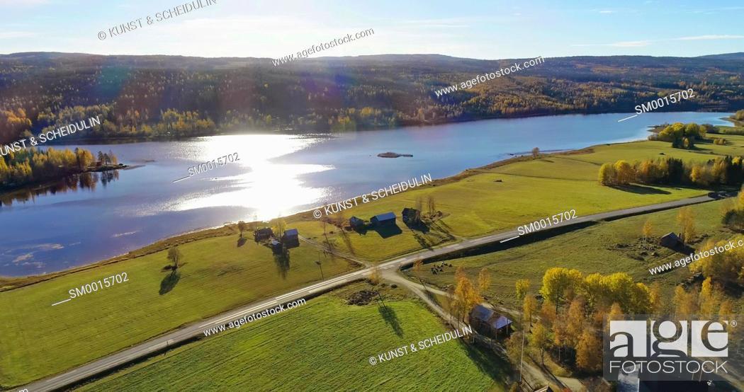 Stock Photo: Lake Gensjosjön near Bredbyn in northen Sweden seen from the air on a sunny autumn day.