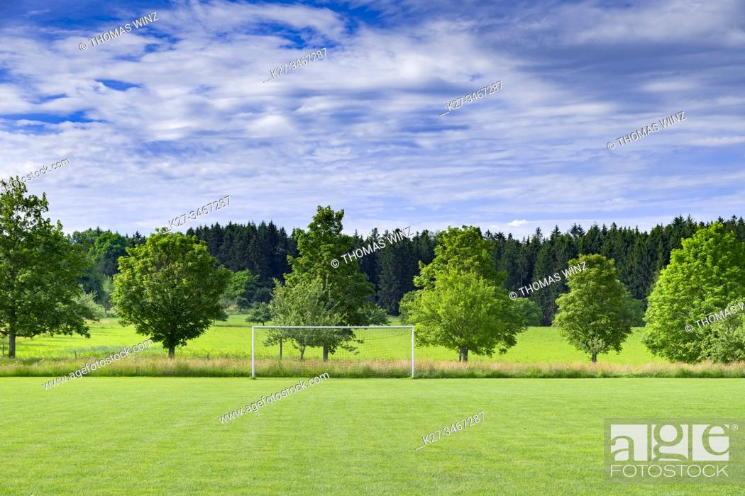 Stock Photo: Soccer goal in the countryside in springtime, Bavaria, Germany.