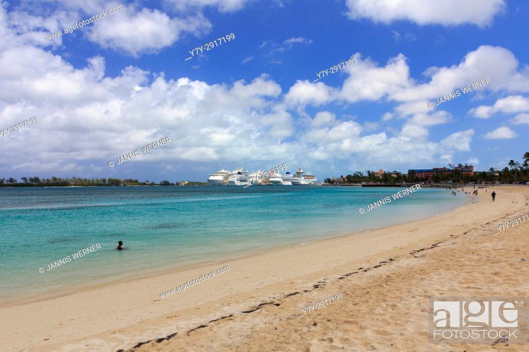 Stock Photo: Cruise ships docked at the port of Nassau, Bahamas.