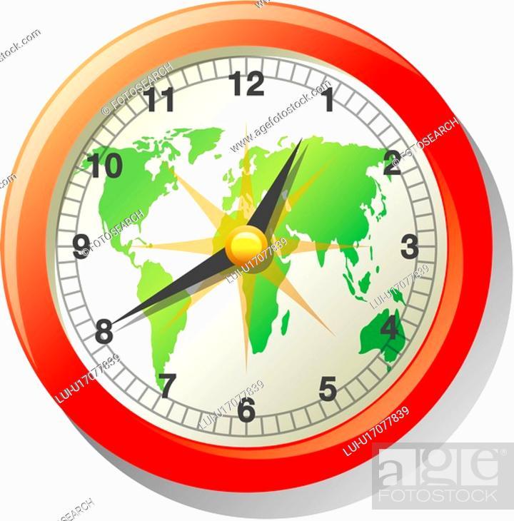 Stock Photo: map, time, world map, world, traveling.