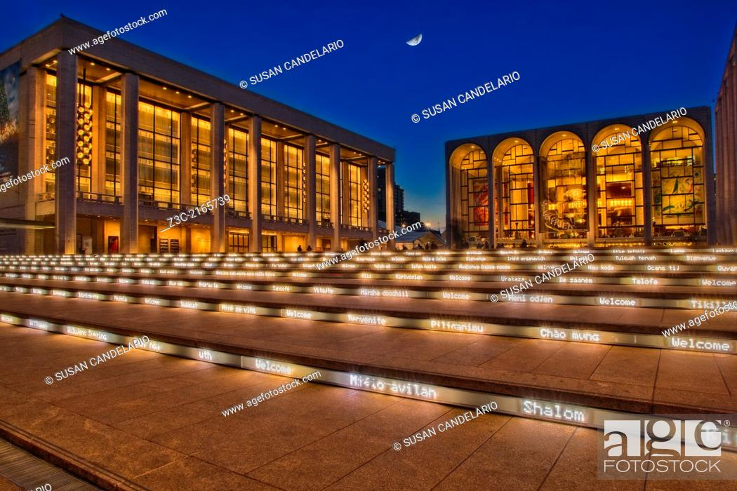 Stock Photo: Linoln Center of the Performing Arts and the David H. Koch Theatre at twilight with the moon rising in New York City, USA.