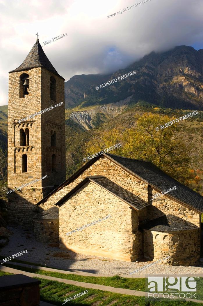 Stock Photo: Sant Joan de Boi romanesque church. Vall de Boi, Lleida, Catalonia, Spain.