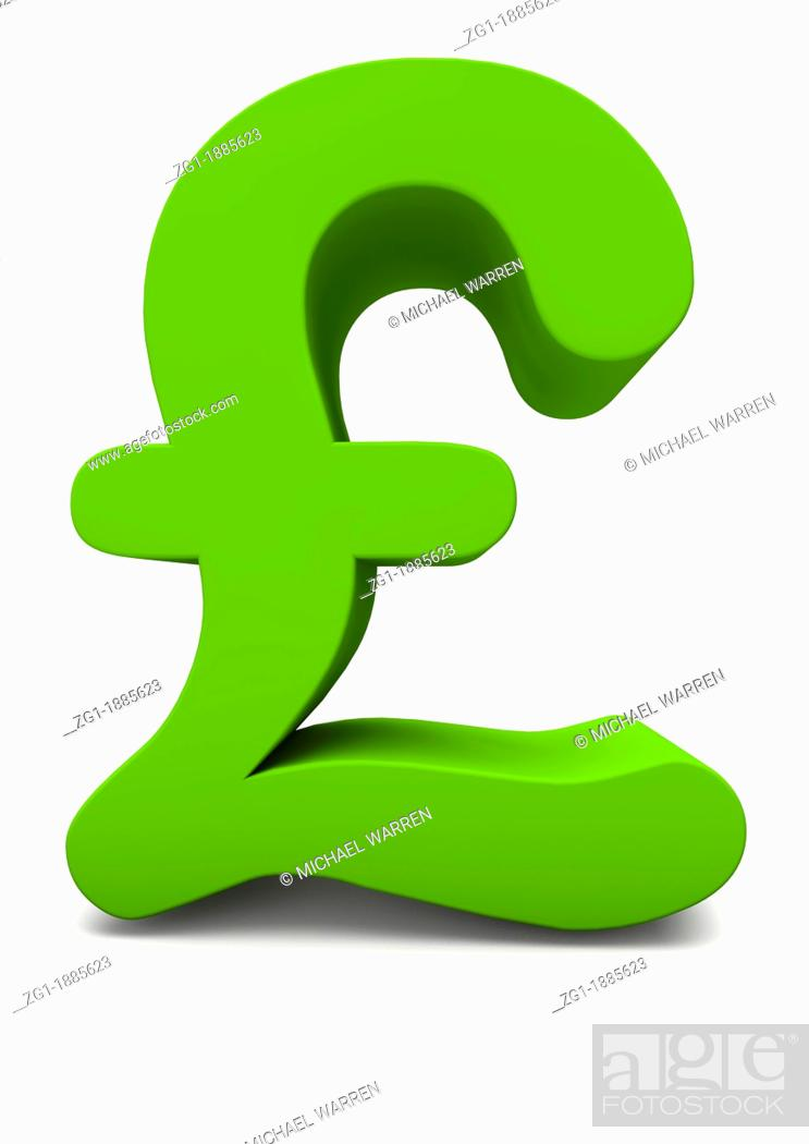 Stock Photo: 3D render of a green pound sign on white background.