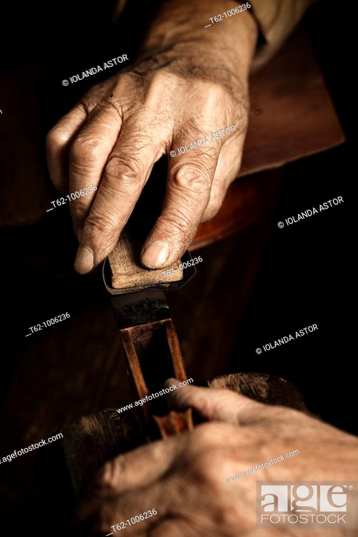 Stock Photo: Luthier workshop  Manufacturing stringed musical instruments  Handicraft.