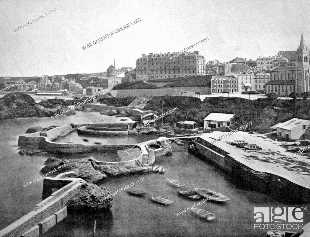 Stock Photo: One of the first autotype prints, port of biarritz, historic photograph, 1884, france, europe.