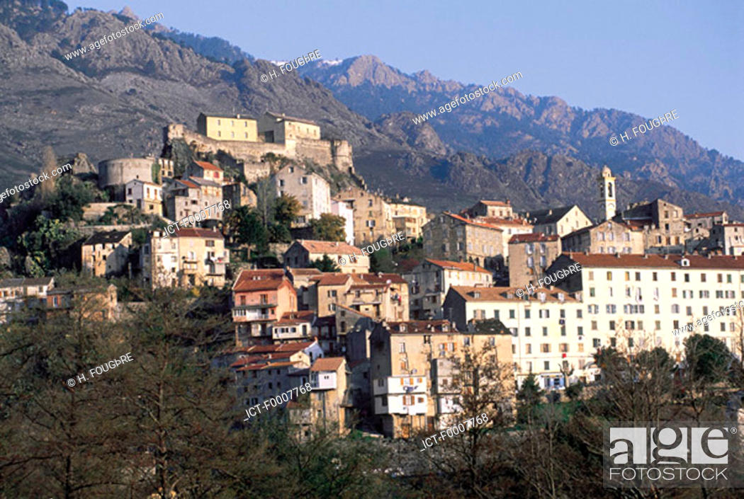 Stock Photo: France, Corsica, Corte, village high up.