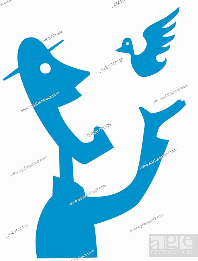 Stock Photo: Man and bird.