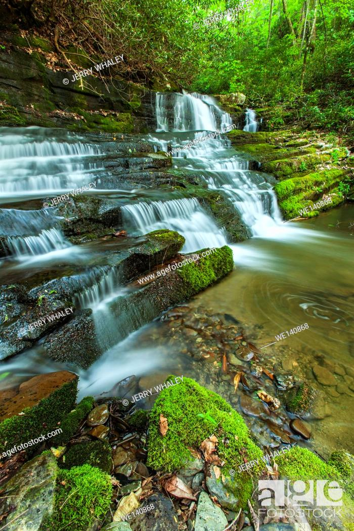 Stock Photo: Waterfalls on Rhododendron Creek in Greenbrier, Great Smoky Mountains National Park , TN.