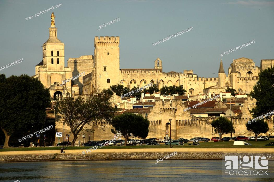 Stock Photo: Cityscape with Palais des Papes, Pope's Palace, cathedral and river Rhone in Avignon, Provence, France, Europe.
