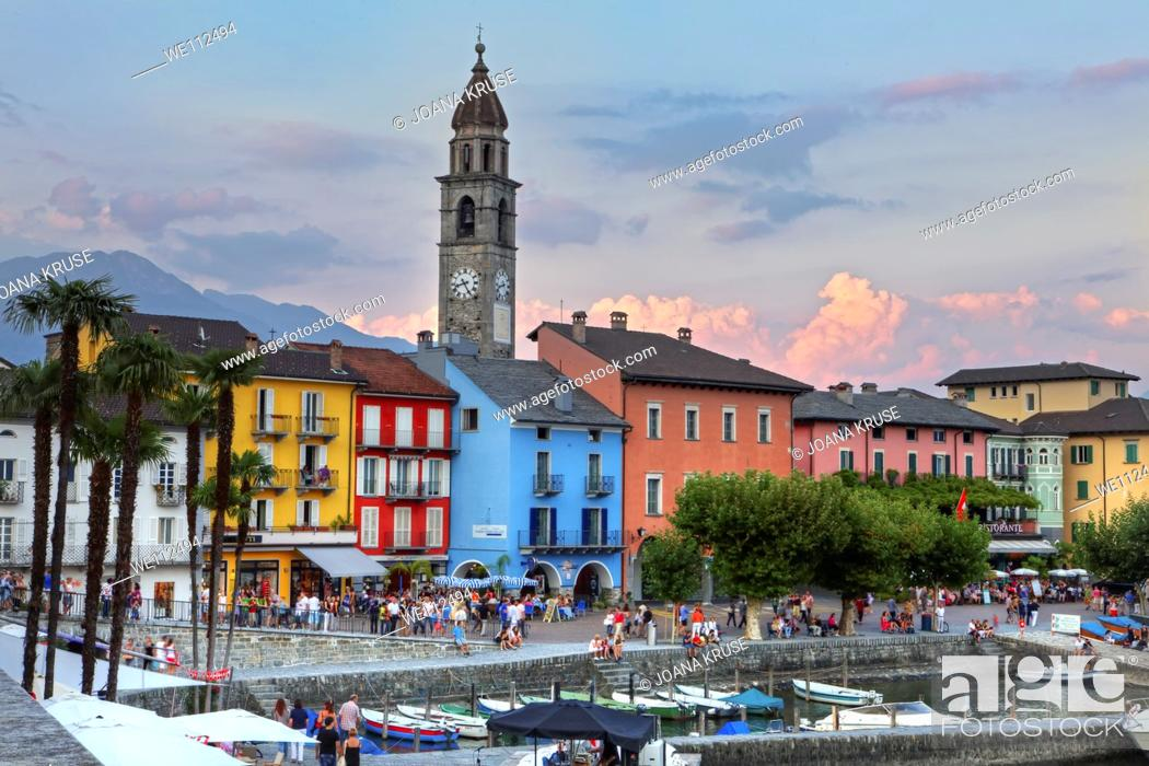 Stock Photo: evening sky in the summer in Ascona Ticino.