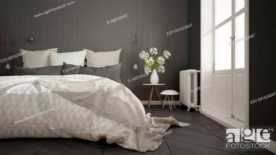 Stock Photo: Scandinavian minimalist bedroom with big window and herringbone parquet, white and gray interior design, close-up.