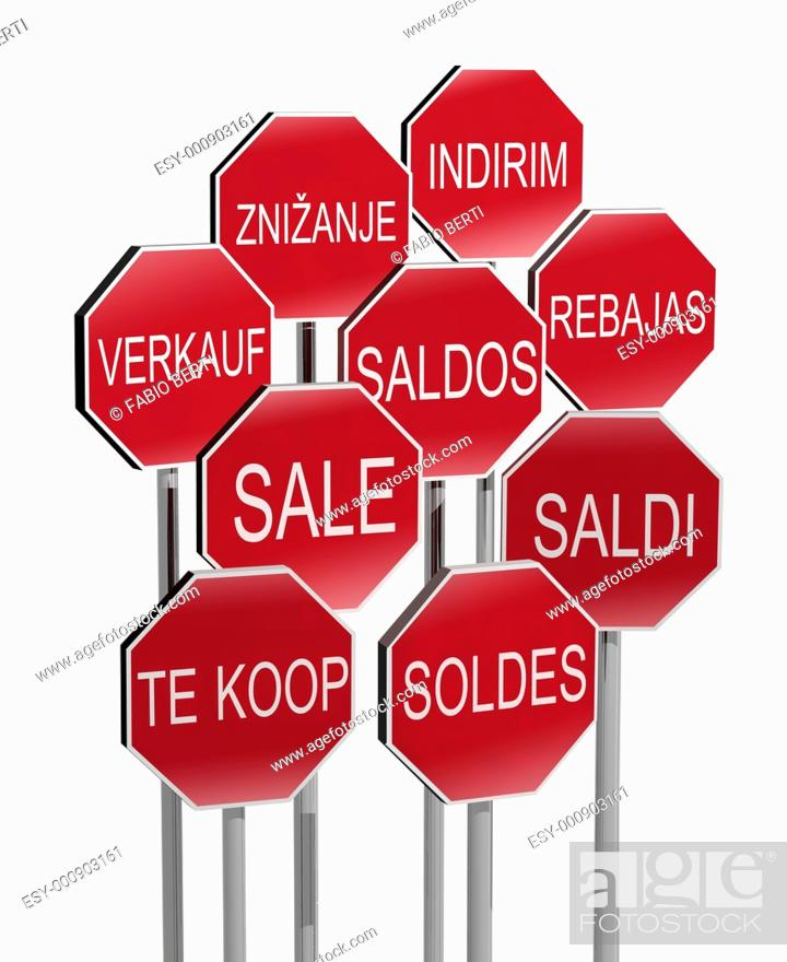Stock Photo: sale traffic signs in many language 3d illustration.