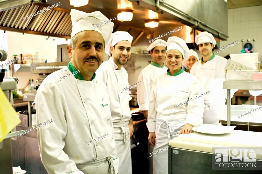 Stock Photo: Kitchen of a restaurant in Santiago de Compostela. Galicia, Spain.