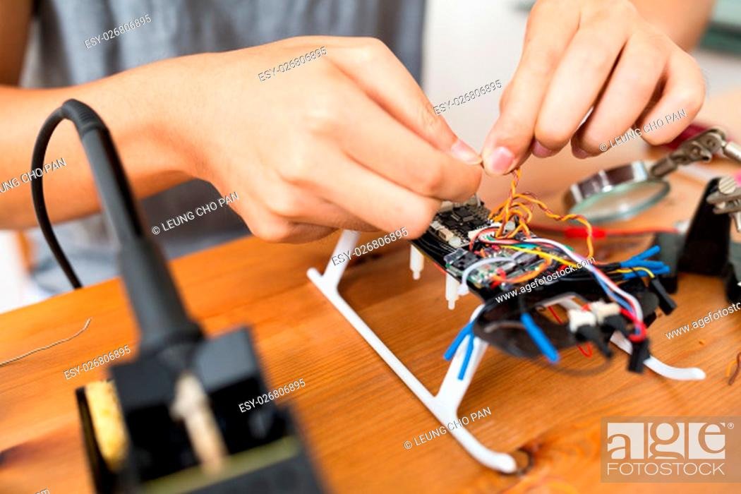 Stock Photo: Connecting the wire of drone.