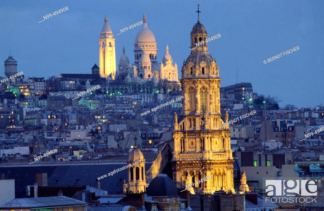 Stock Photo: Hill of Montmartre, cathedral Sacré Coeur, Paris. France.