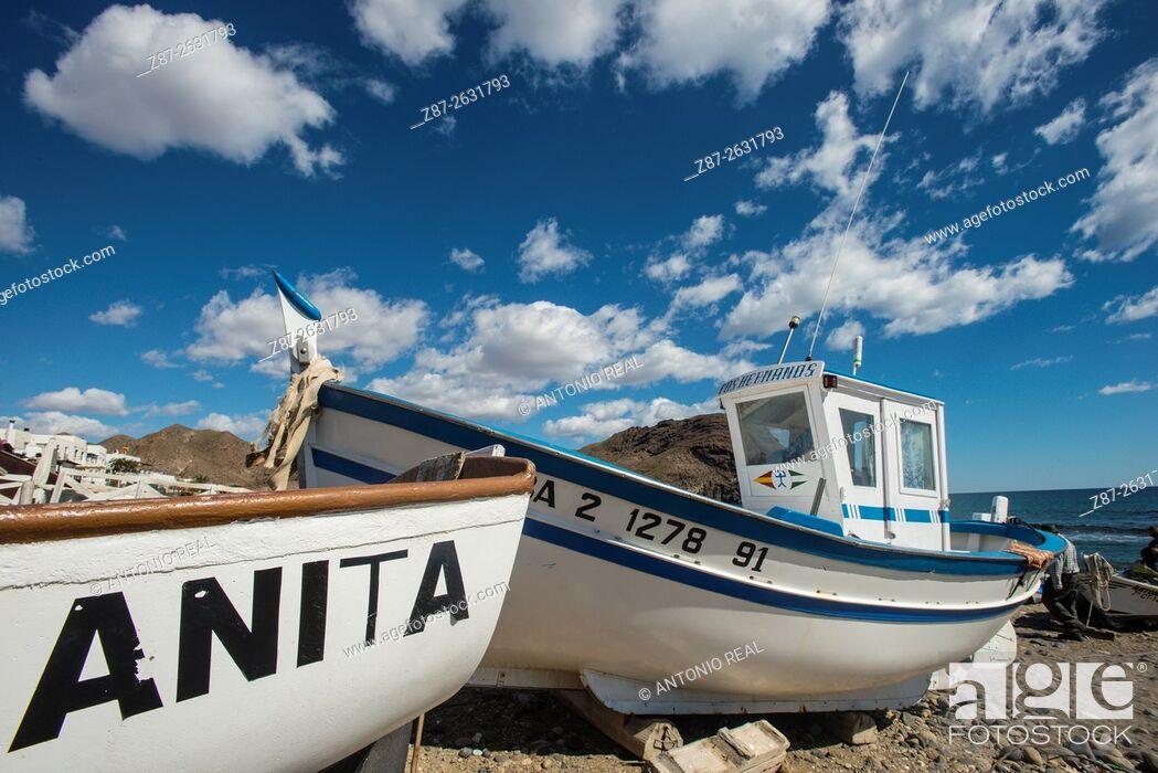 Stock Photo: Playa de Las Negras, Parque Natural del Cabo de Gata, Almeria province, Andalusia, Spain.