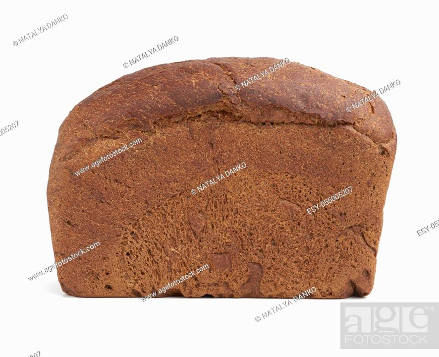 Stock Photo: baked rectangular rye flour bread isolated on white background, healthy product, close up.