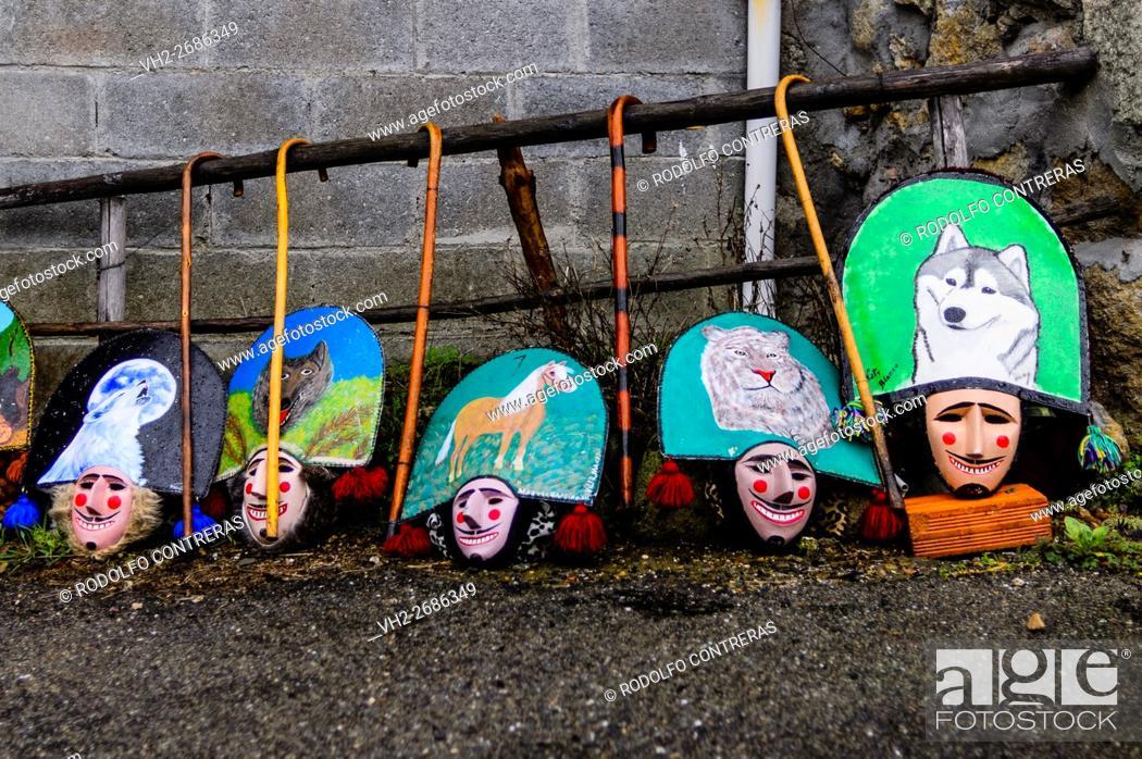 Stock Photo: Carnival around Maceda villages in Orense (Galicia/Spain).