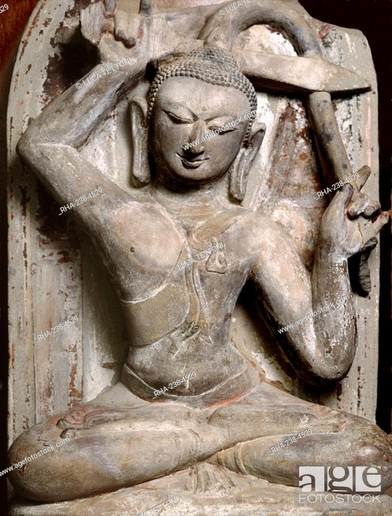 Stock Photo: Statue dating from the late 11th or early 12th century AD of Prince Siddhartha cutting his hair, Bagan Museum, Bagan Pagan, Myanmar Burma, Asia.